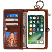 Multifunctional Detachable Zipper Wallet Magnetic Leather Phone Case Cover for iPhone6 6S Plus