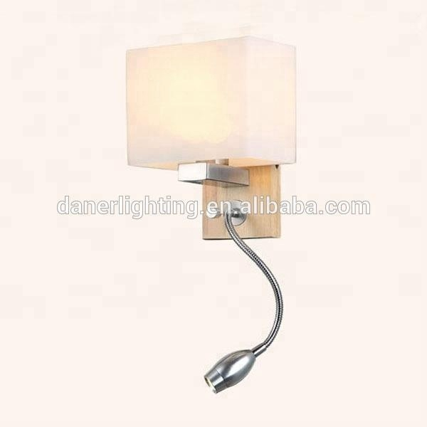 Modern simple adjustable wood base indoor led 1W wall sconce lamp for hotel bedroom