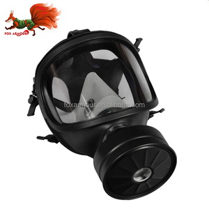 Chemical protective full face gas mask with single filter