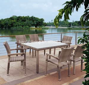 import furniture from China: Foshan factory outdoor dining furniture stackable rattan chair and table