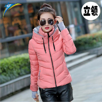 d791cd27de0 2017 Winter Plus Size Womens Jacket Parkas Thicken Outerwear solid hooded  Short Female Slim Cotton padded