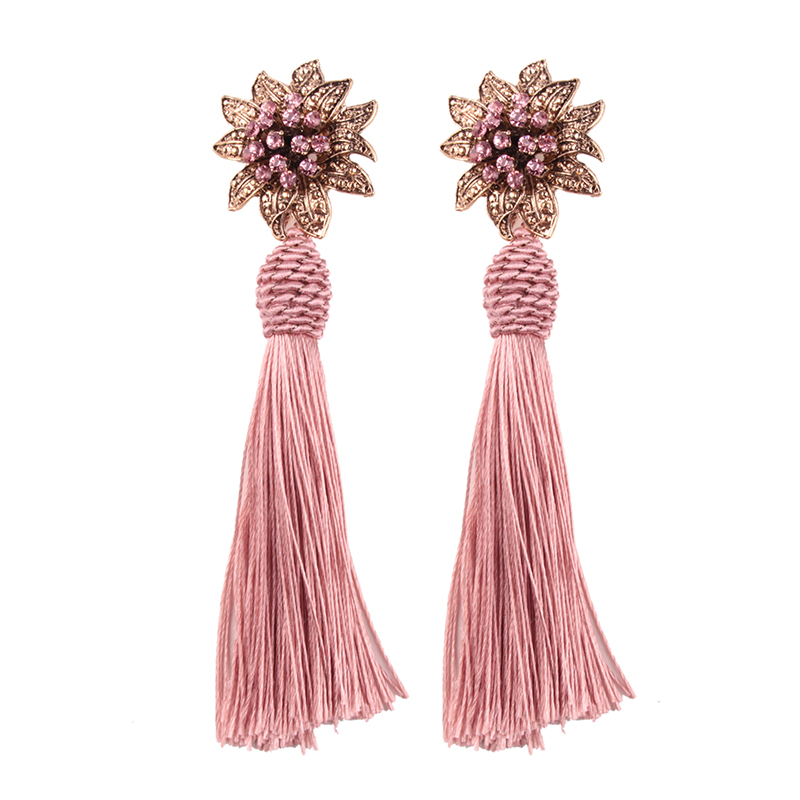 12054 Dvacaman 2018 wholesale flower diamond silk thread tassel earrings