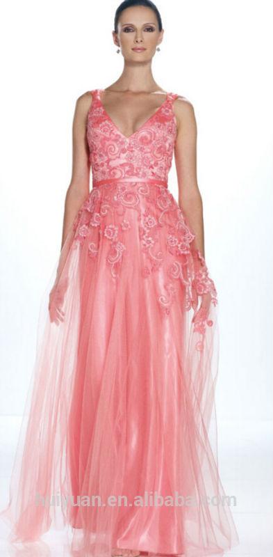 de color rosa oscuro V cuello sin respaldo vestido de noche de ...