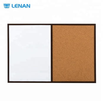 Magnetic dry erase wood frame combination board half cork bulletin board half magnetic white board