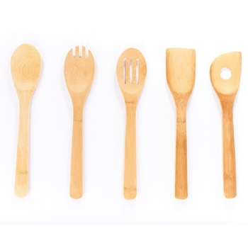 6 Pieces Kitchen Set Serving Tools Cooking Utensil Natural Wooden