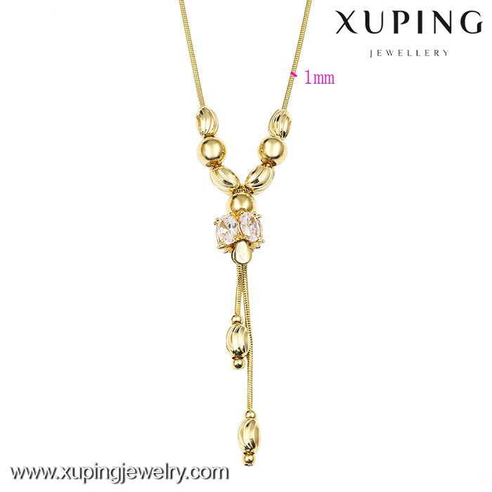 42455-xuping fashion necklaces, new brass necklace, neutral chain box of seed necklace