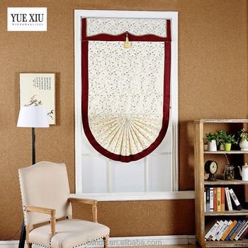 Factory Directly Sell Simple Light Color Roman Blinds /Manual Fancy Fanshaped Curtains
