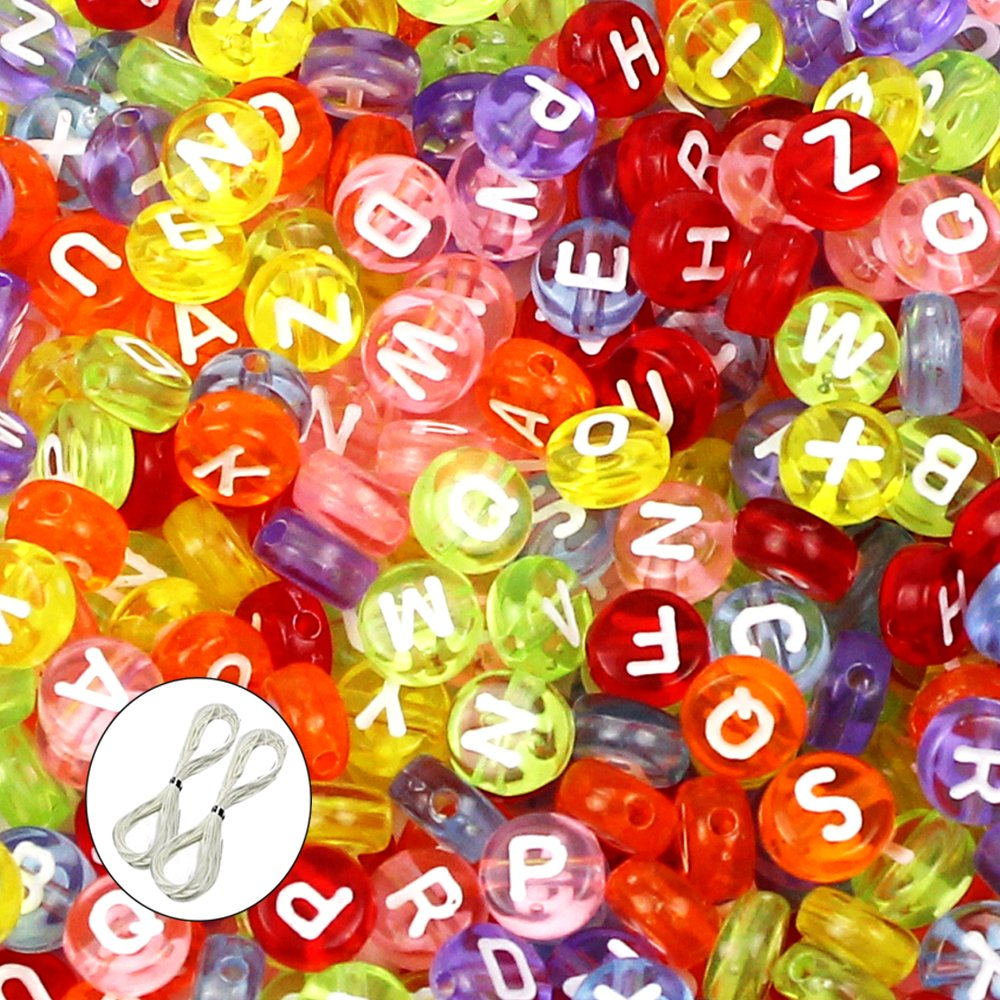 JPSOR 600pcs 4x7mm Acrylic Assorted Color Round Letter Beads Alphabets Beads for Bracelets and Jewelry Making, with Thread & Pouch