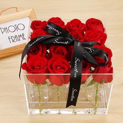 Transparent rose box luxury waterproof square acrylic flower box