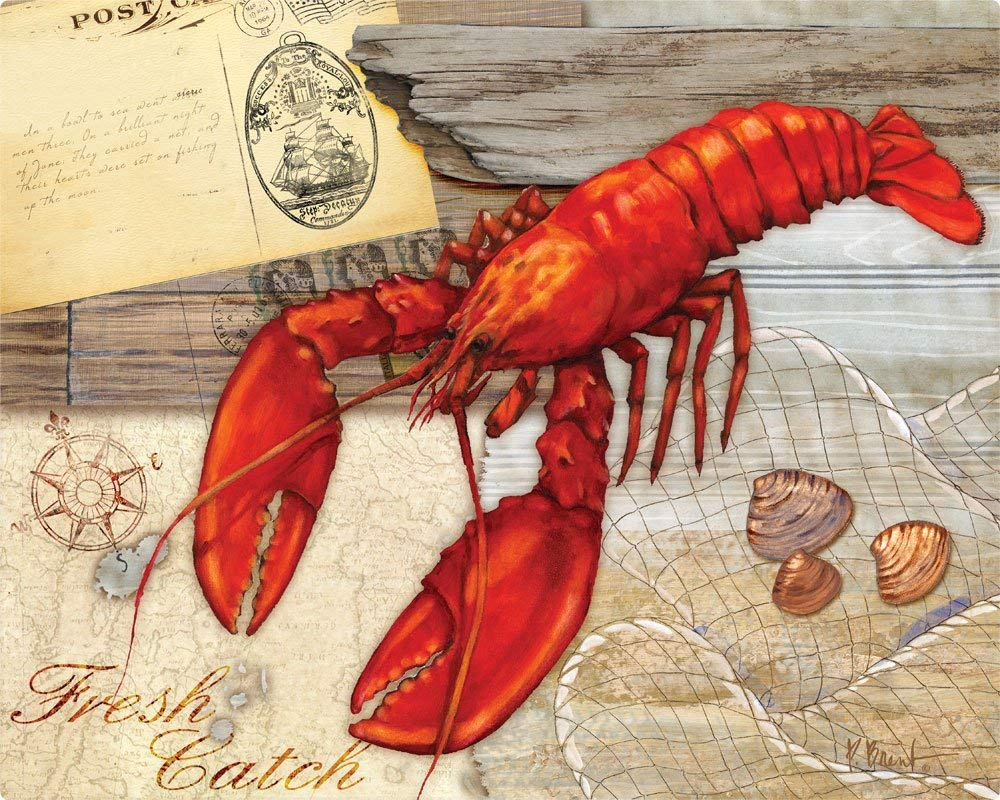 Magic Slice Non-Slip Flexible Cutting Board, Gourmet Size 12-Inch by 15-Inch, Fresh Catch Lobster by Paul Brent