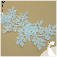 2016 New DHLF1704 Fancy Rose Flower Embroidered Bridal Lace Applique / Beaded Pearls Lace Applique For Wedding Accessories