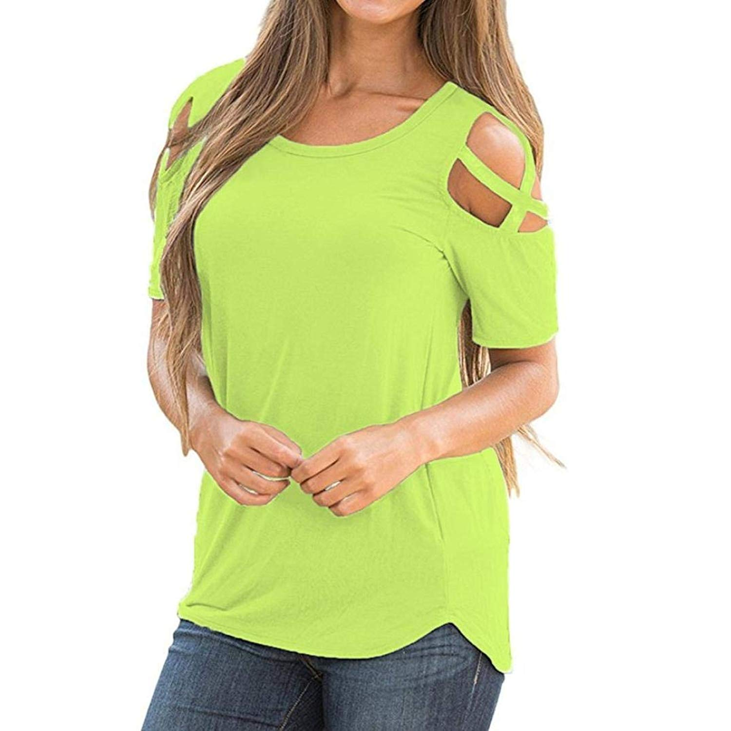 Syban T-Shirt Women Summer Short Sleeve Strappy Cold Shoulder Tops Blouses