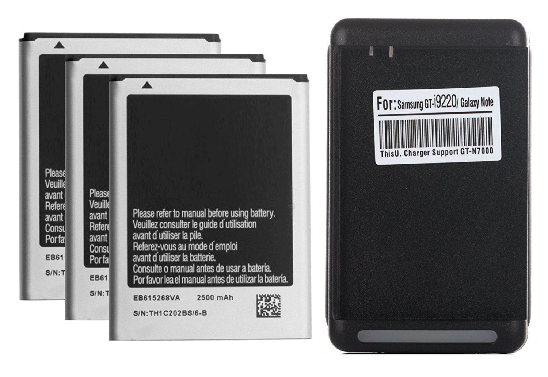 3 x 2500mAh i9220 Baterias de repuesto + Cargador de pared USB para Samsung Galaxy Note 1 i9220, N7000, I717 (AT&T), T879 (T-Mobile)
