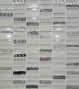 Decorative strip marble mix glass and 3D silver resin mosaic tile for living room