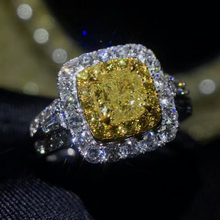 Wholesale Luxury Dubai 18k Gold Women Wedding Real 1.005ct Natural Yellow Diamond Ring Jewelry