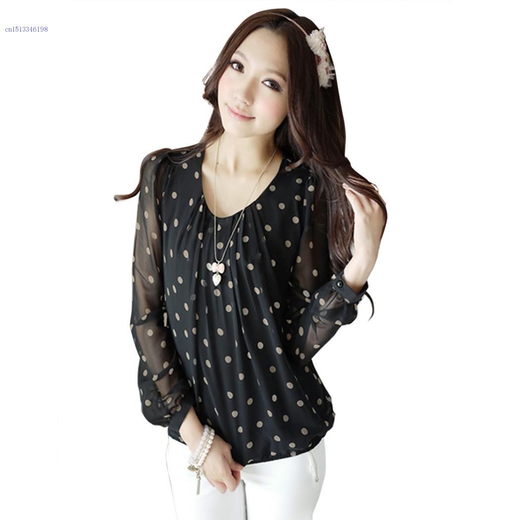 251900c606b08f Get Quotations · Women Blouses 2014 New Fashion ladies Loose Polka Dot Chiffon  Tops Female Long Sleeve Shirt Black