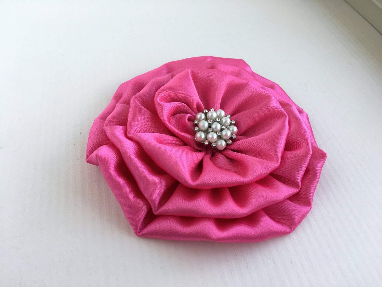 Large Hot Pink Flower Brooch.Hot PInk Flower Hair Clip.Pin.Pink Headpiece.Hot PInk Hair Piece.Hot Pink Hair Accessory.Pink Bridesmaid Flower