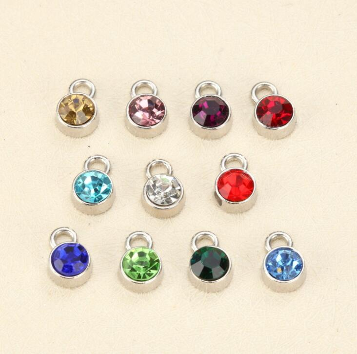 Hot Sale Mother Gift Glass Crystal Pendant Necklace 6MM Birthstone Charms