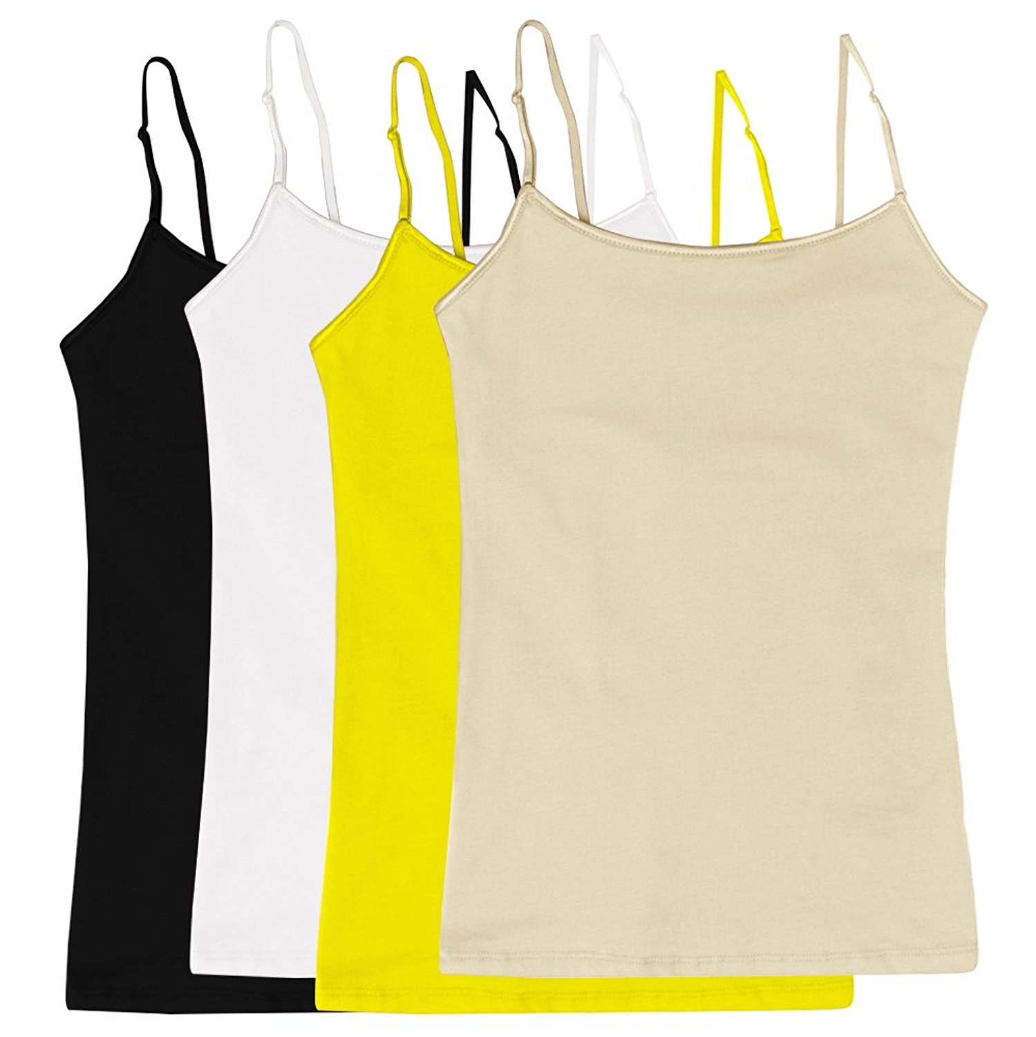 04909209f8 Get Quotations · Women s Camisole Built-in Shelf Bra Adjustable Spaghetti Straps  Tank Top Pack 4 Pk Yellow