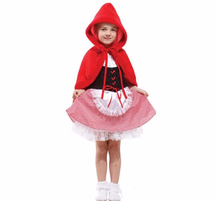 girls fairy tales clothes cute  suits female children halloween kids sexy fancy dress little red riding hood costume 2