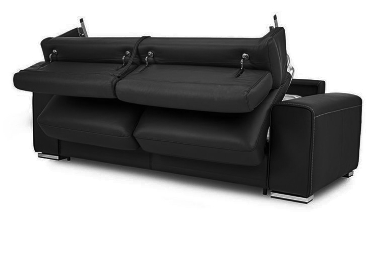 Detachable Sleeping Black Folding Leather Sofa Bed With