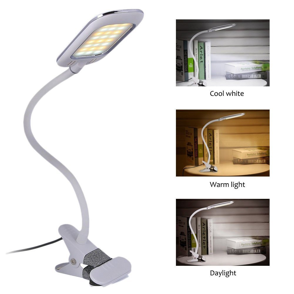Eyocean Clamp Reading Light for Bed Headboard, Bedroom with 3 Color Modes,11 Dimming Levels, Clip on Desk Lamp, Adapter Included, 5W, White