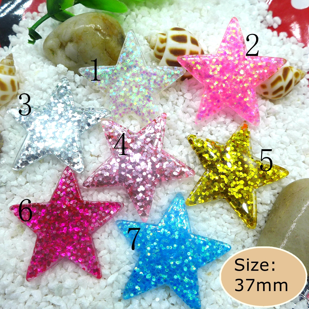 US $1 79 |Kawaii Sequin Star Flatback Resin Cabochon Craft For DIY mobile  phone case Hair Clip Decoration Supplies Embellishment-in Figurines &