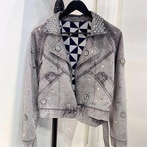 Women fashion beadings Customized fringes washed Cropped black gray rivets beading crystals rhinestone Denim Jacket Women coats