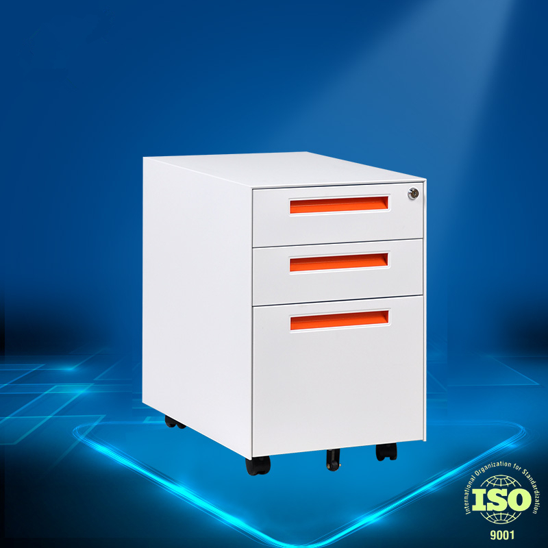 Orange Fashion 3 Drawers Aluminum Alloy Hand Mobile <strong>Cabinets</strong> Pedestal Filing <strong>Cabinets</strong>
