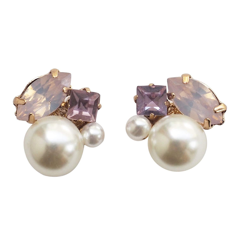 Miyabi Grace Women's White Pearl Rhinestone Crystal Bridal Wedding Invisible Clip On Earrings Gold tone