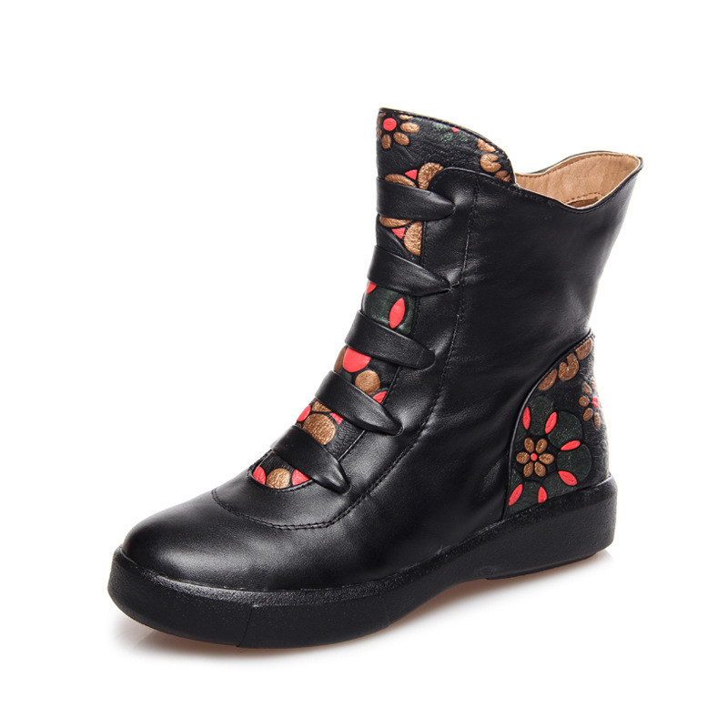2015 Autumn Winter New Chinese National Style Women's Flower Genuine Leather Ankle Boots With Zipper Ladies Flat Fashion Boots