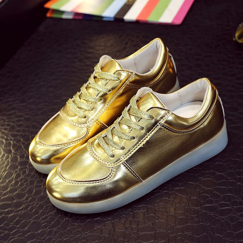 Colorful LED charging light emitting golden and sliver Tyrant shoes shoes authentic <strong>men</strong> and women couple of sports shoes