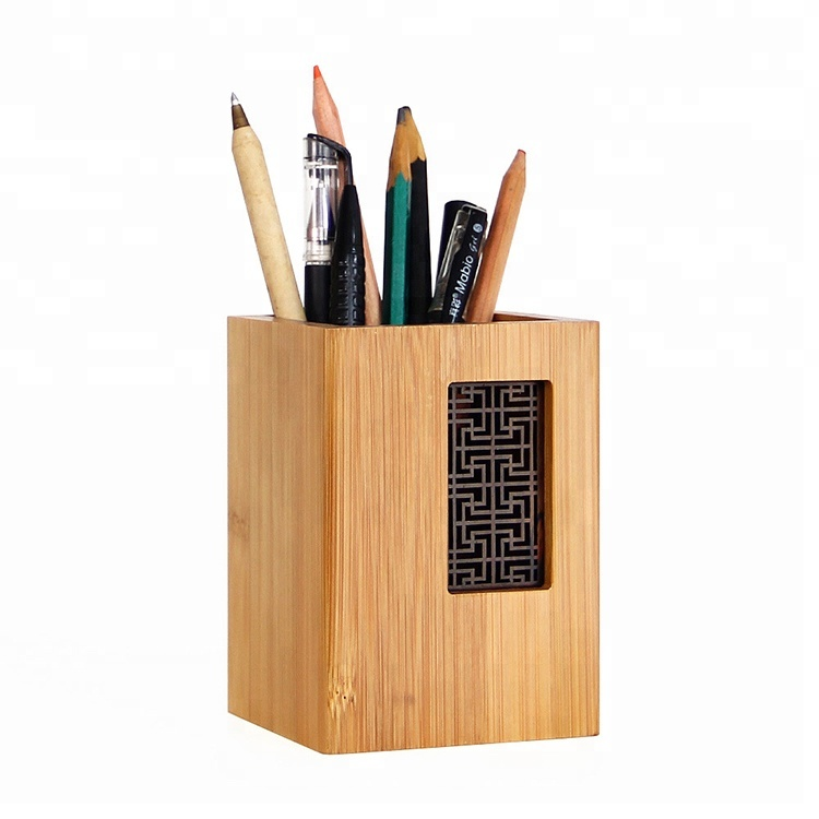 <strong>Pen</strong> container creative fashion desk furniture wooden office retro <strong>bamboo</strong> stationery <strong>pen</strong> case