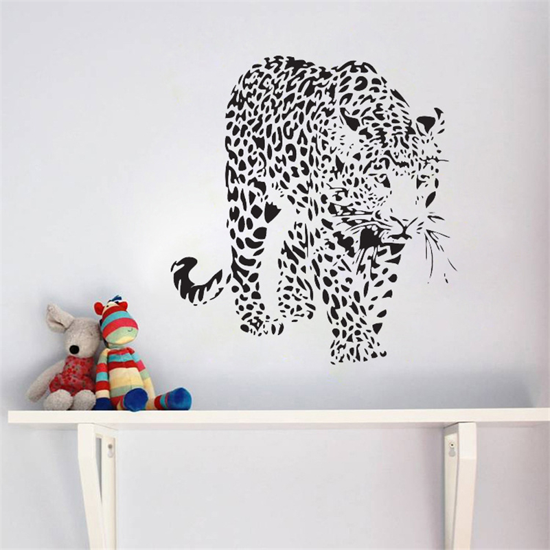 Creative Home Decor cheetahs wall sticker Felidae animal large cats leopards panther wallpaper removable wall stickers QZ-45