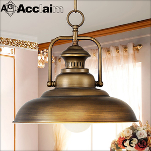 Retro Style Round Metal Shade Brass Hanging Antique Iron Diy Industrial Lamp