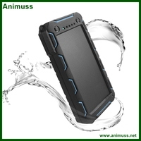 Full capacity 15000mah external battery backup water resistance dirt/shockproof solar mobile phone power bank charger for camera