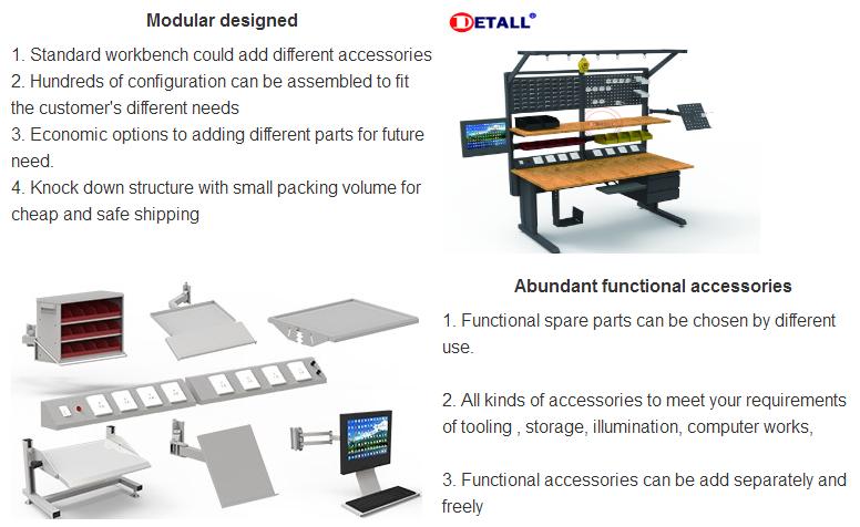 Detall ESD מתכוונן חשמל עבודת ספסל עבור SMT במפעל