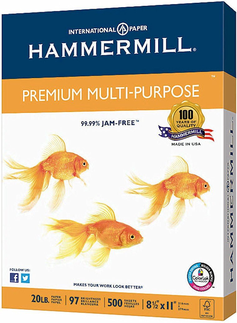 Hammermill Premium Multipurpose Laser Inkjet Printer Fax Copy Paper, 8 1/2 Inch x 11 Letter Size, 20 lb., 500 Total Sheets