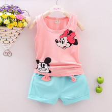New Arrival Summer style 2PCS Toddler Kids Baby Girls Minnie Outfits Children Sets Sleeveless shirt Tops