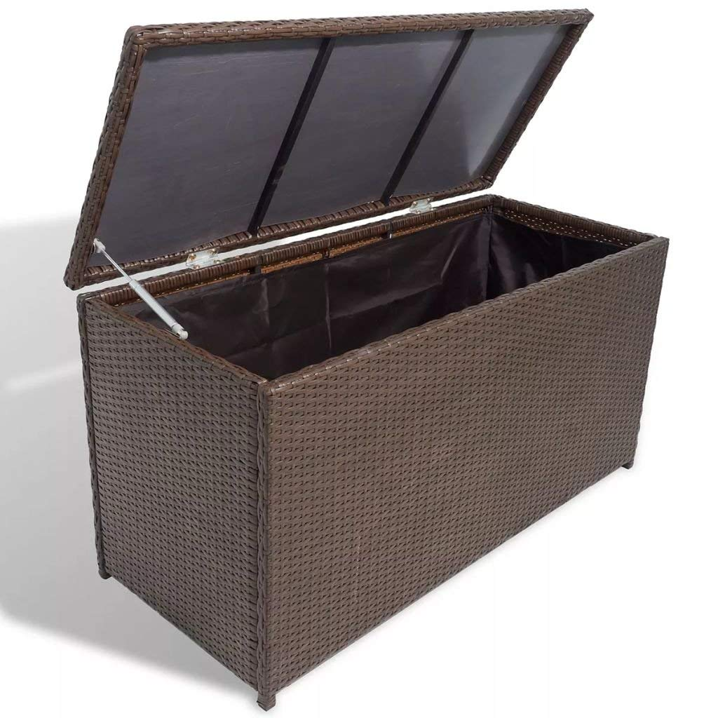 Get Quotations Shechic Outdoor Patio Garden Wicker Storage Chest For Cushions Pillows Pool Accessories Poly Rattan