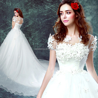 Luxury Decorative Flowers Floral Long Train White And Lace Wedding Dresses