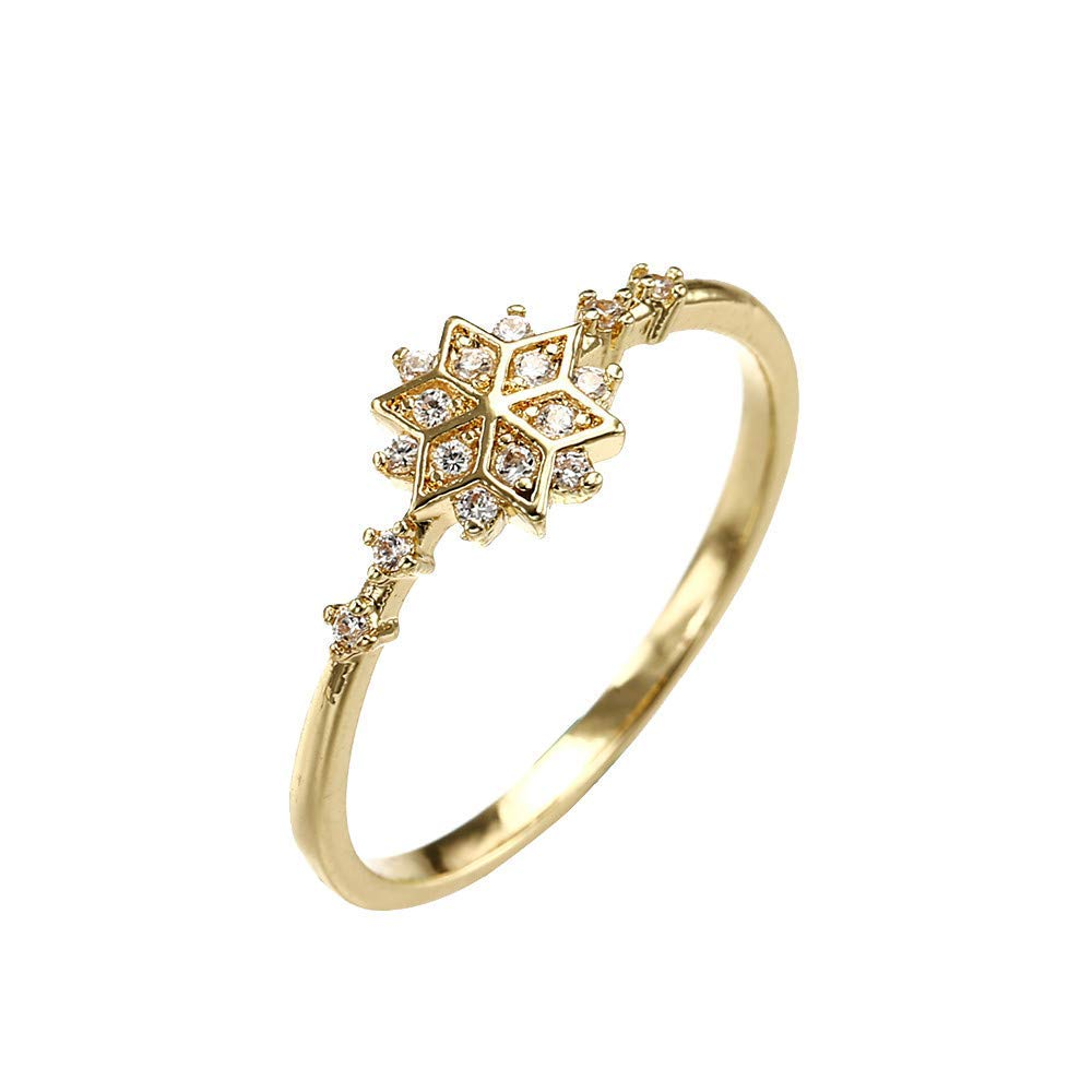 Clearance Ring, Hoshell Beautiful Fashion Ring Snowflake Engagement Gift Set with Diamond Elegant Ring (❤ 6, Gold)