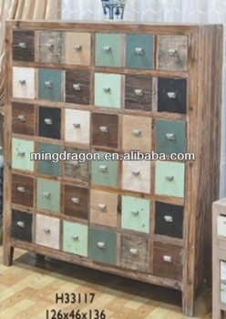 Chinese Antique Shanxi Recycled Wood Distressed Medicine Cabinet