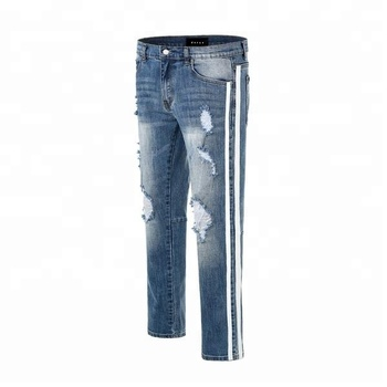 Wholesale distressed denim washed grey ripped jeans men slim fit