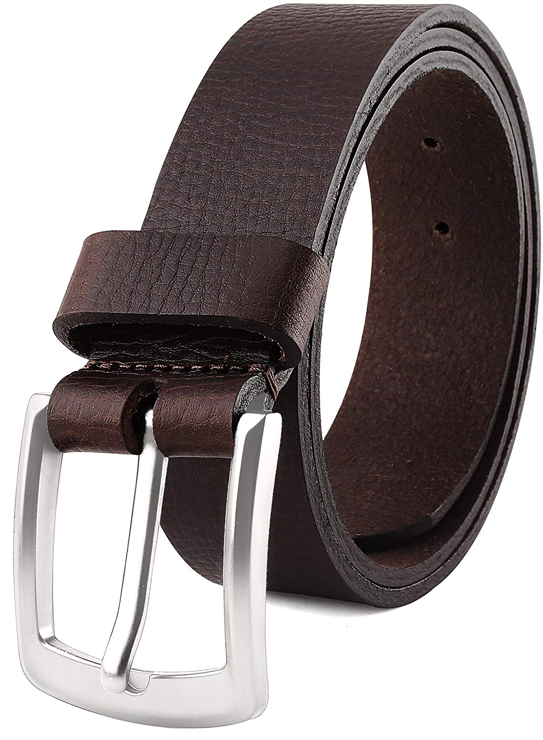 "Men's Casual Full Grain Classic Leather Dress Belt For Jeans,1.5"" Wide, USA"