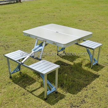Astounding Portable Aluminium Folding Foldable Picnic Table And 4 Bralicious Painted Fabric Chair Ideas Braliciousco