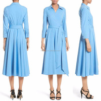 Shirt Dress Women Fashion Cheap Long Sleeve Casual Style Plain Dyed Wholesale Custom Women Pleated Dress Shirt Women