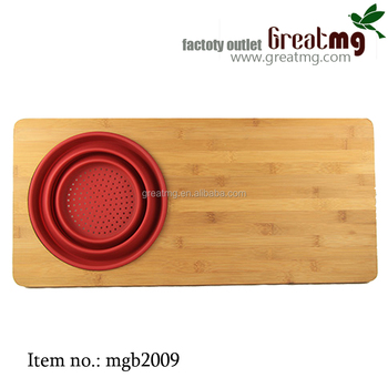 Scarlet Multifunction Bamboo And Silicone Colander Board,Over The Sink  Cutting Board With Red Strainer