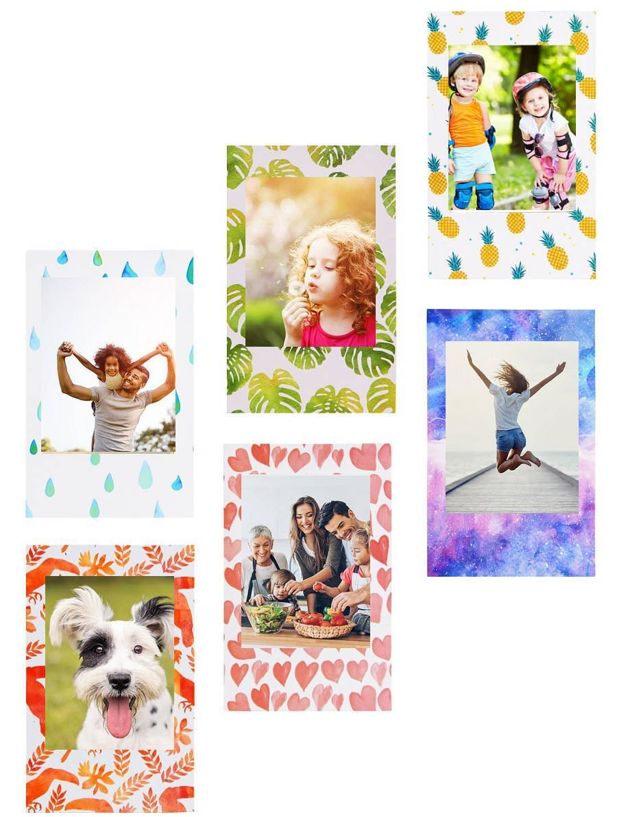 Mini Magnetic Photo Frame for Polaroid film & Fujifilm Instax Film, Refrigerator Magnets Frame for HP sprocket photo paper, Zink Photo Paper and any 2x3 Photo Paper, 6 Pack - HVS