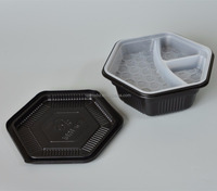 disposable Microwaveable plastic fast food pp bowl type container/sushi serving tray